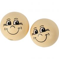 Houten ballen met gezichten, d: 22 mm, licht beige, 10 stuk/ 1 doos