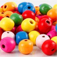 Houten kralen mix, d: 10 mm, gatgrootte 2,5-3 mm, diverse kleuren, 22 gr/ 1 doos