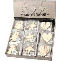 3D decoraties van hout, hart, ster en boom, afm 7,5x7,5x0,2 cm, 3x30 stuk/ 1 doos