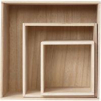 Showdozen, vierkant, H: 15x15+21,5x21,5+28x28 cm, diepte 12,5 cm, 3 stuk/ 1 set