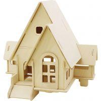 3D Houten constructie set, Huis met veranda, afm 22,5x17,5x20,5 , 1 stuk