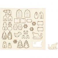 DIY Houten figuren, Kerst, L: 15,5 cm, B: 17 cm, 1 doos
