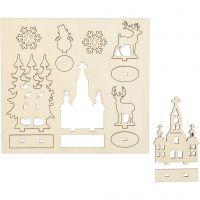 DIY Houten figuren, kerk, kerstbomen, rendier, L: 15,5 cm, B: 17 cm, 1 doos