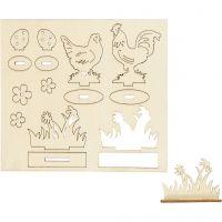 DIY Houten figuren, kippen en bloemen, L: 15,5 cm, B: 17 cm, 1 doos
