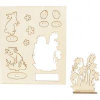 DIY Houten figuren, konijnen en bloemen, L: 20 cm, B: 17 cm, 1 doos