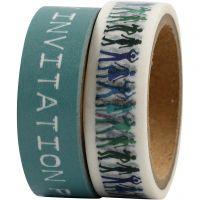 Masking Tape, B: 15 mm, turquoise, 2x5 m/ 1 doos