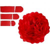 Pompon van papier, d: 20+24+30 cm, 16 gr, rood, 3 stuk/ 1 doos