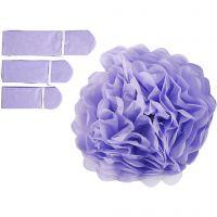 Pompon van papier, d: 20+24+30 cm, 16 gr, paars, 3 stuk/ 1 doos