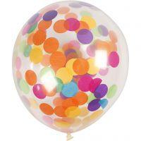 Ballonnen met confetti, rond, d: 23 cm, transparant, 4 stuk/ 1 doos