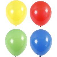 Ballonnen, giga, d: 41 cm, blauw, groen, rood, geel, 4 stuk/ 1 doos
