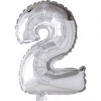 Folieballon , 2, H: 41 cm, zilver, 1 stuk