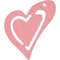 Hart, afm 25x22 mm, roze, 20 stuk/ 1 doos