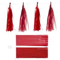 Tassels, afm 12x35 cm, 14 gr, wijnrood/rood, 12 stuk/ 1 doos