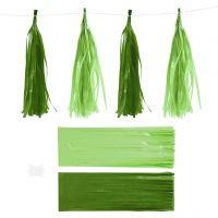 Tassels, afm 12x35 cm, 14 gr, donkergroen/lime green, 12 stuk/ 1 doos