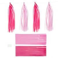 Tassels, afm 12x35 cm, roze, lichtrood, 12 stuk/ 1 doos