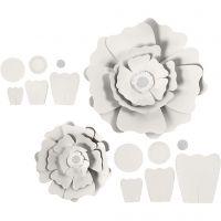 Papieren bloemen, d: 15+25 cm, 230 gr, wit, 2 stuk/ 1 doos