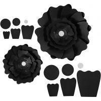Papieren bloemen, d: 15+25 cm, 230 gr, zwart, 2 stuk/ 1 doos