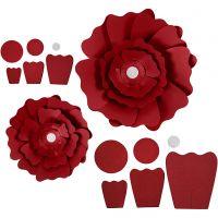 Papieren bloemen, d: 15+25 cm, 230 gr, rood, 2 stuk/ 1 doos