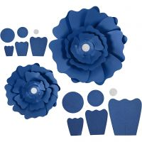 Papieren bloemen, d: 15+25 cm, 230 gr, blauw, 2 stuk/ 1 doos