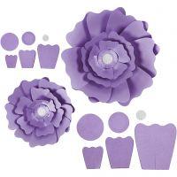 Papieren bloemen, d: 15+25 cm, 230 gr, paars, 2 stuk/ 1 doos