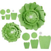 Papieren bloemen, d: 15+25 cm, 230 gr, groen, 2 stuk/ 1 doos