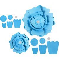 Papieren bloemen, d: 15+25 cm, 230 gr, lichtblauw, 2 stuk/ 1 doos