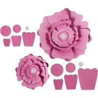 Papieren bloemen, d: 15+25 cm, 230 gr, lichtrood, 2 stuk/ 1 doos