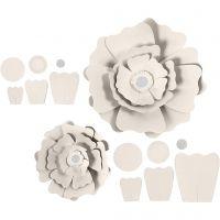 Papieren bloemen, d: 15+25 cm, 230 gr, off-white, 2 stuk/ 1 doos