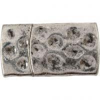 Magnetische sluiting, afm 7x29 mm, gatgrootte 3x10 mm, antiek zilver, 1 stuk