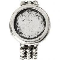 Cabochon ring, d: 19 mm, gatgrootte 14 mm, antiek zilver, 1 stuk