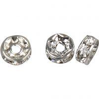 Strassteen rondelle, d: 6 mm, gatgrootte 1,2 mm, verzilverd, 50 stuk/ 1 doos