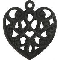 Hart, afm 13x14 mm, gatgrootte 1 mm, zwart, 4 stuk/ 1 doos