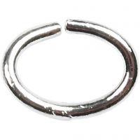 Ring, ovaal, dikte 1 mm, verzilverd, 40 stuk/ 1 doos