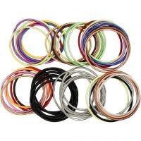 Veer armband, L: 18 cm, dikte 3 mm, diverse kleuren, 84 stuk/ 1 doos