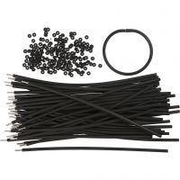 Armbanden, L: 20 cm, dikte 4 mm, zwart, 48 set/ 1 doos