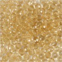 Facet kralen, afm 3x4 mm, gatgrootte 0,8 mm, topaz, 100 stuk/ 1 doos