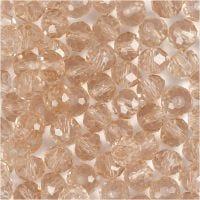 Facet kralen, afm 5x6 mm, gatgrootte 1 mm, roze, 100 stuk/ 1 doos