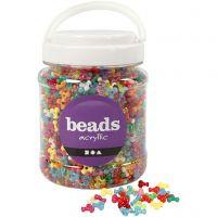 Tri-kralen mix, d: 10 mm, gatgrootte 2 mm, diverse kleuren, 700 ml/ 1 Doosje, 385 gr