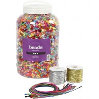 Emmer met plastic kralen, elastiek en armbanden, afm 6-20 mm, gatgrootte 1,5-6 mm, diverse kleuren, 1 set