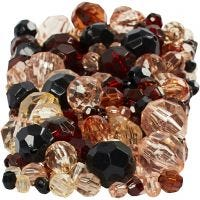 Facetkralen mix, afm 4-12 mm, gatgrootte 1-2,5 mm, goud, 250 gr/ 1 doos