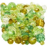 Facetkralen mix, afm 4-12 mm, gatgrootte 1-2,5 mm, groen glitter, 250 gr/ 1 doos