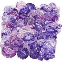 Facetkralen mix, afm 4-12 mm, gatgrootte 1-2,5 mm, paars, 250 gr/ 1 doos