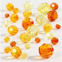 Facetkralen mix, afm 4-12 mm, gatgrootte 1-2,5 mm, geel, 45 gr/ 1 doos