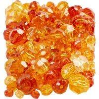 Facetkralen mix, afm 4-12 mm, gatgrootte 1-2,5 mm, geel (32227), 250 gr/ 1 doos