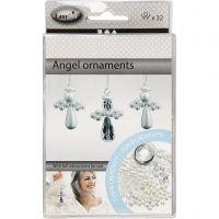 Engel ornamenten, H: 2,8 cm, 32 stuk/ 1 doos
