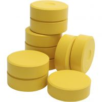 Tempera verfblokken, H: 19 mm, d: 57 mm, geel, 10 stuk/ 1 doos