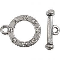 L: 17 mm, d: 20 mm, gatgrootte 2 mm, antiek zilver, 1 set