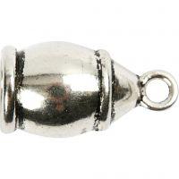 Eindkap, afm 11x20 mm, gatgrootte 6 mm, antiek zilver, 40 stuk/ 1 doos