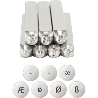 Embossing stempels, speciale letters, L: 65 mm, afm 3 mm, 7 stuk/ 1 set