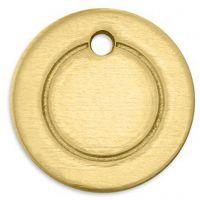 Metalen label, ring, d: 13 mm, gatgrootte 1,85 mm, dikte 1 mm, koper, 11 stuk/ 1 doos